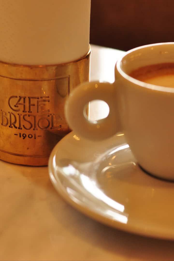 Coffee in the most prestigious cafe.