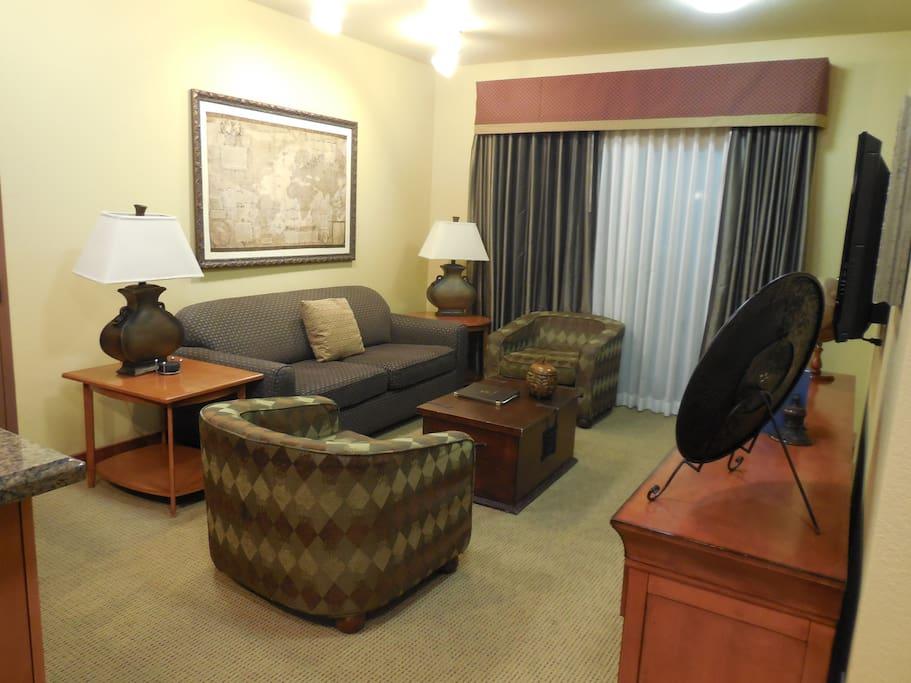 Living room and patio doors