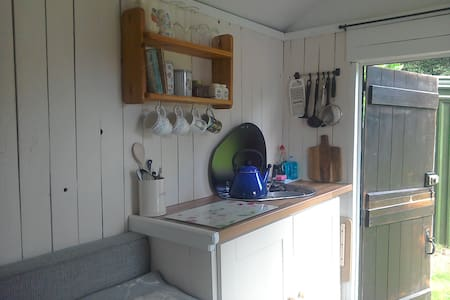 Shepherd's Hut Holiday Let at Riverside Campsite
