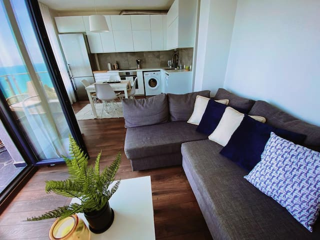 Open living room and kitchen area with stylish design.