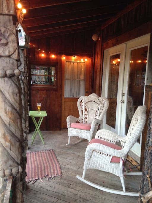 Quiet seating area on porch.