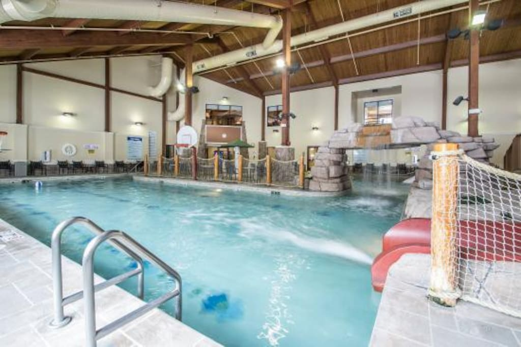 Indoor swimming pool open year round.
