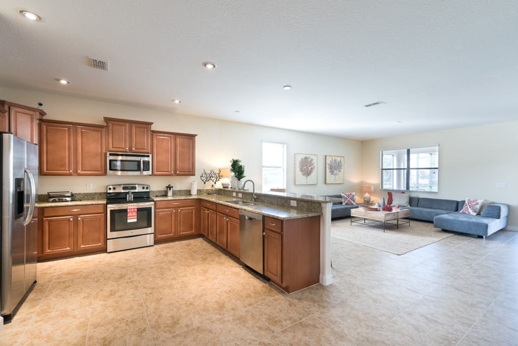 Wide open kitchen and living room