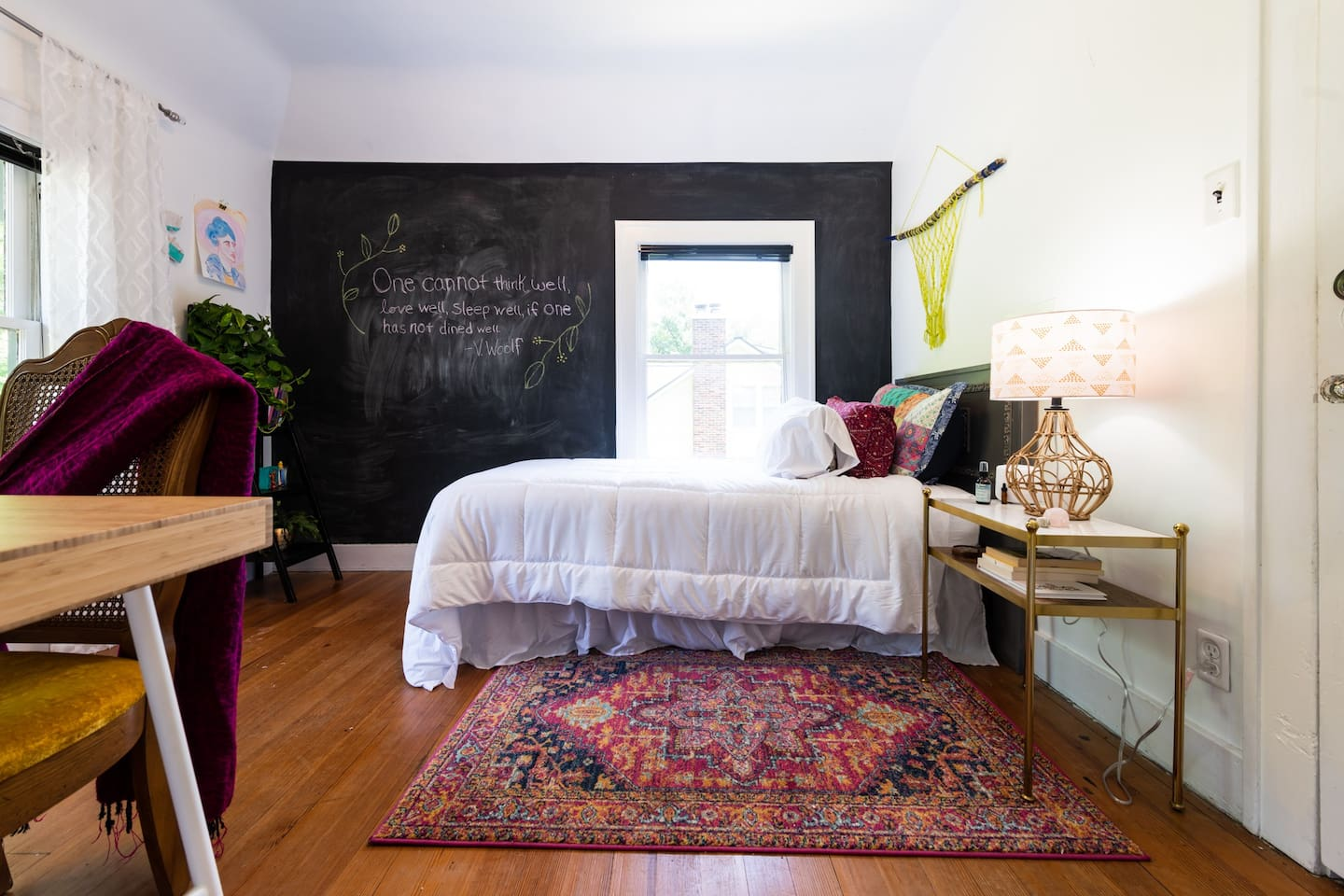 Room of One's Own. Sleeps 1 in a twin bed. Perfect for a solo traveler who is looking for a creative retreat or a home base for adventures. Features the best light in the house with two east facing windows.