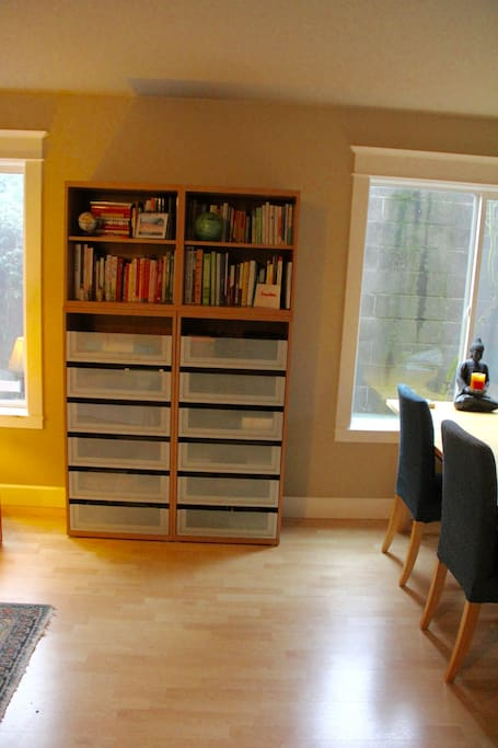 Space for hanging out and books for reading.