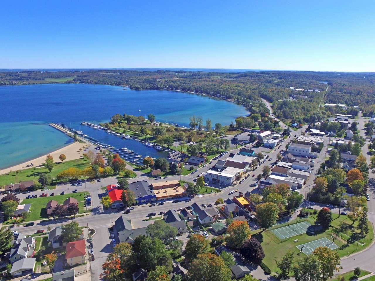 Arial view over Suttons Bay