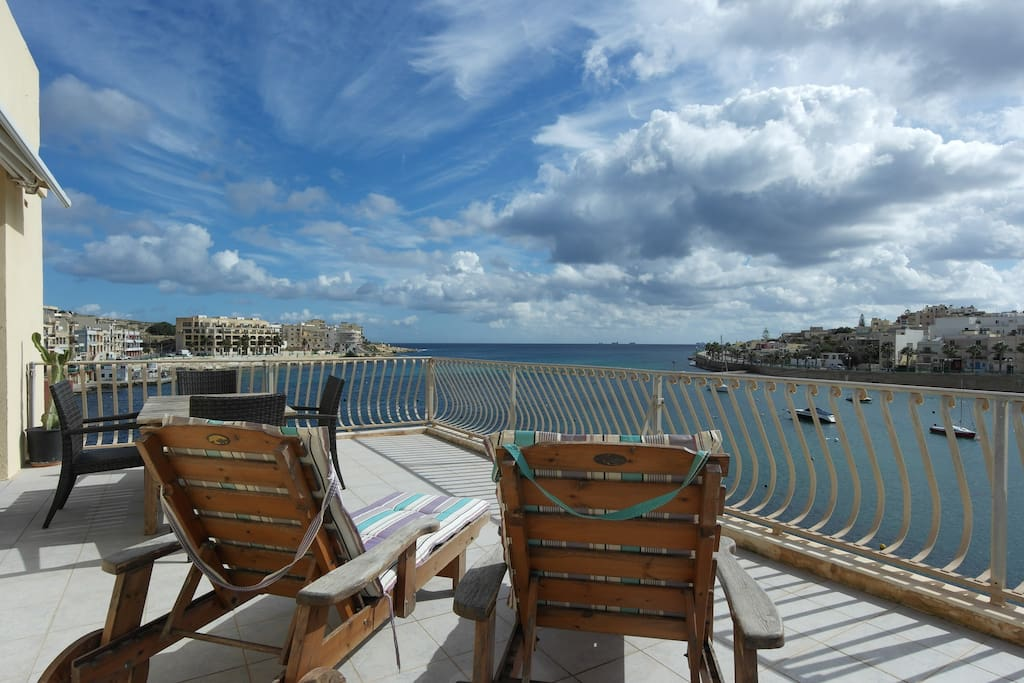 Deck chairs on the terrace to enjoy the sun and of course the beautiful sea views.  this terrace is private & for your use only.