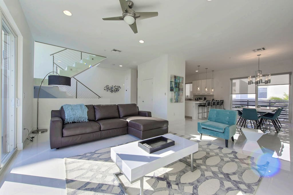 Marble floors and chef's kitchen await in the home