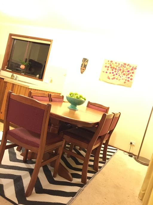 Dining room and kitchen. Table seats 6, but extends to seat 8. Large kitchen for lots of food prep.