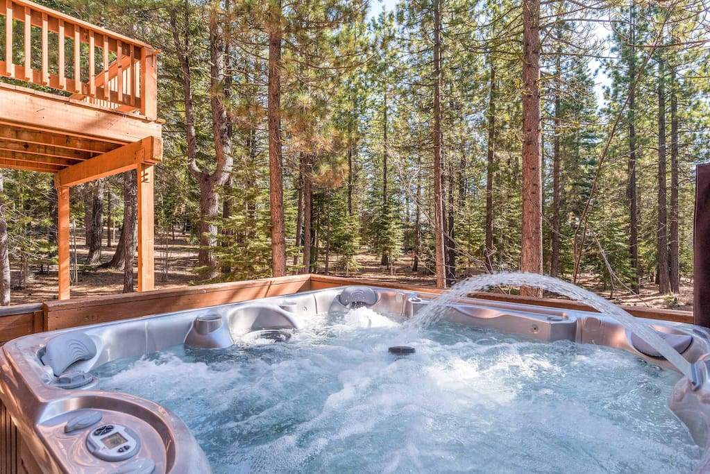 Soak your cares away in the jetted hot tub.