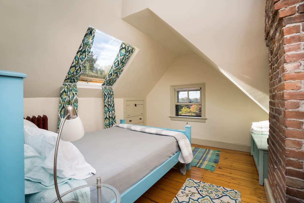 The bedroom has two skylights and a window--nice and bright!