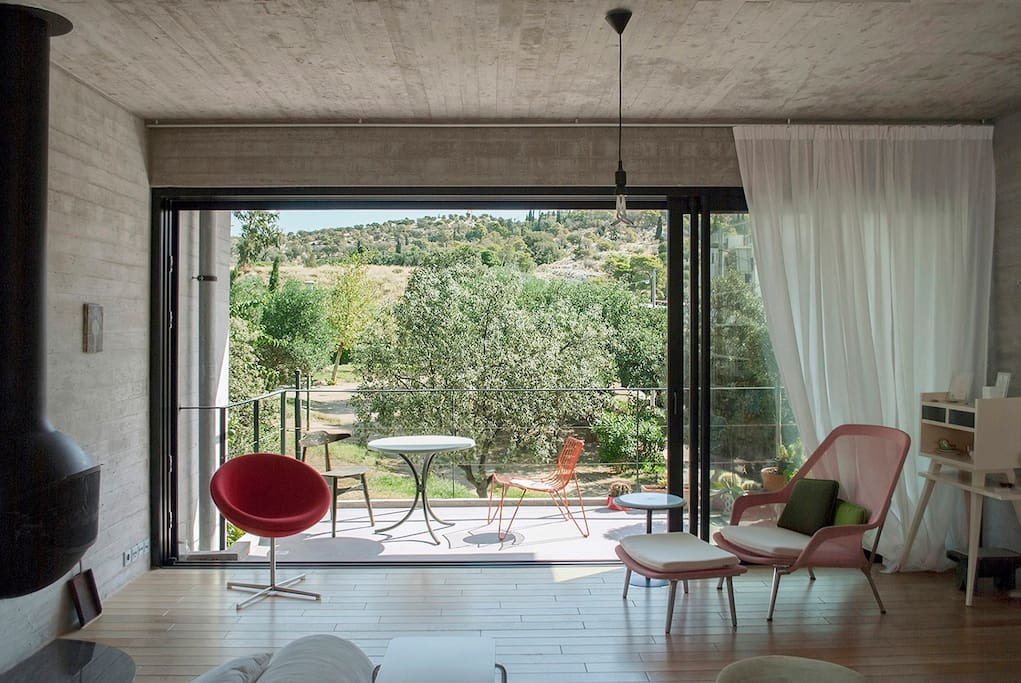 Stunning view of Filopappou Hill from the living room and the balcony