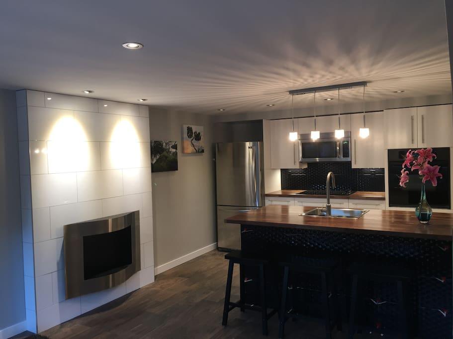Fireplace & kitchen