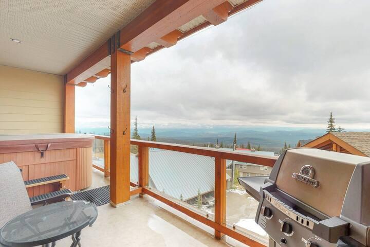 Ski in/ski out condo with a private hot tub, patio, heated parking, & ski locker