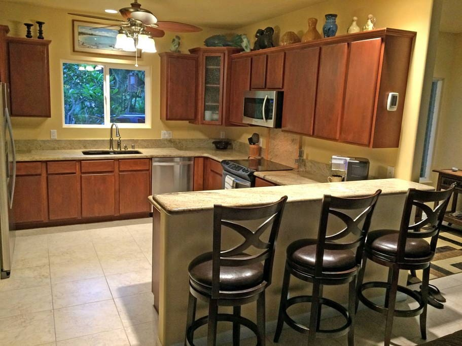 Shared kitchen for making coffee and light meal preparation.