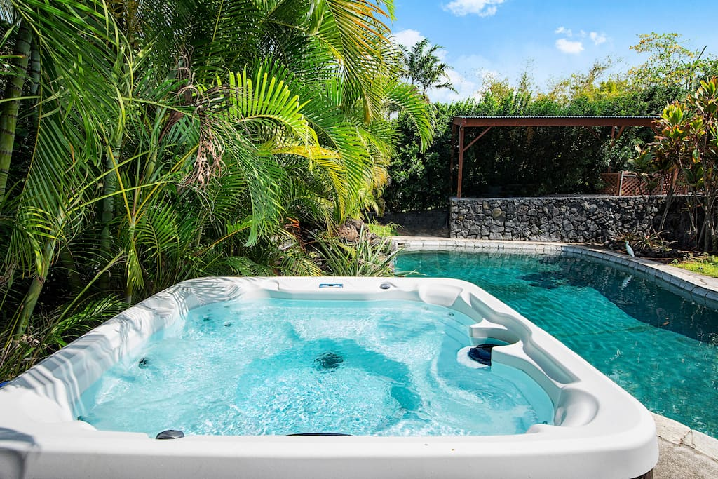 6 people jet Spa by the pool with privacy  and among all tropic plants and plum trees