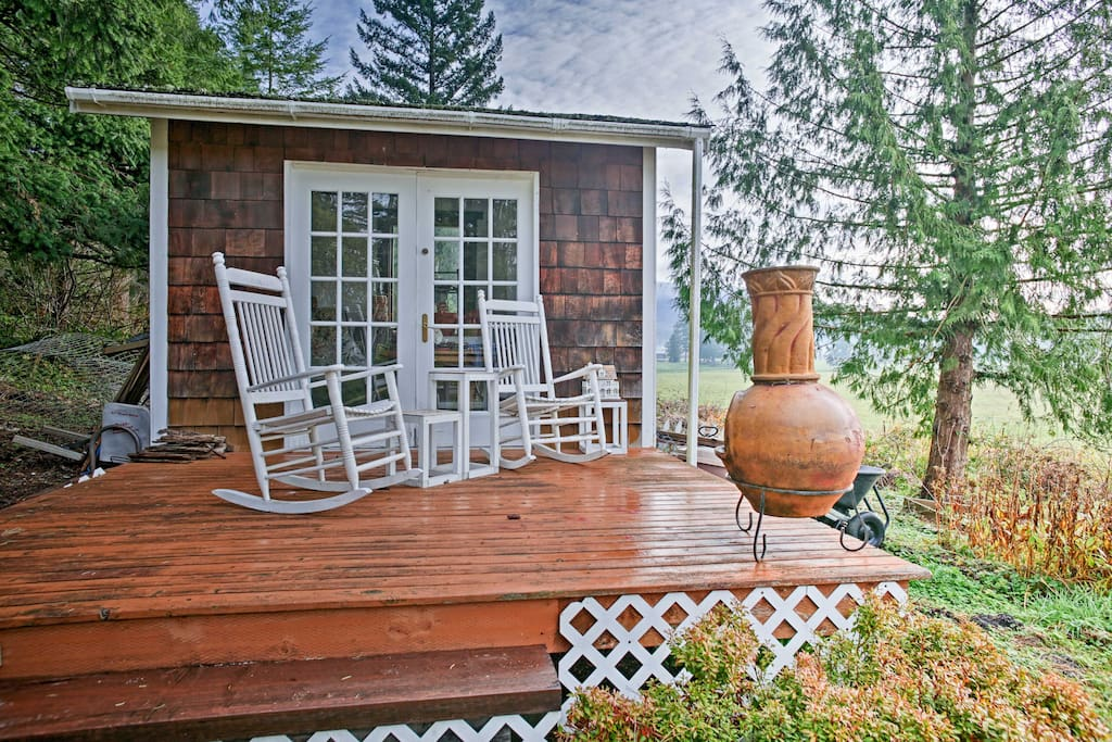 Kick back in the rocking chairs on the private patio while sipping your favorite beverage and taking in the views.