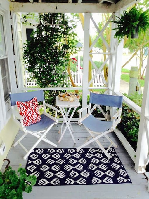 Another pretty porch spot to enjoy your morning coffee or cocktails