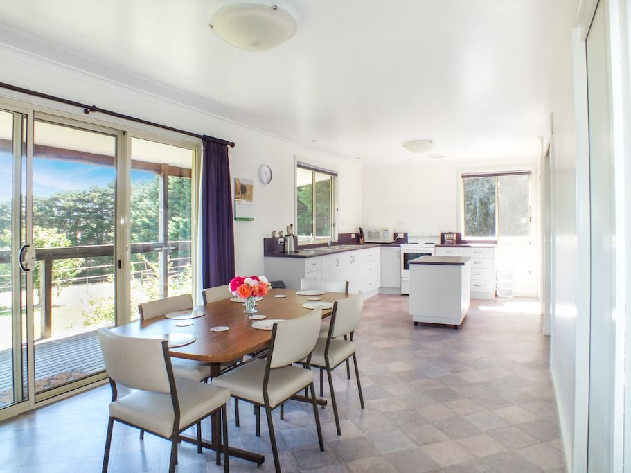Spacious dining and kitchen area