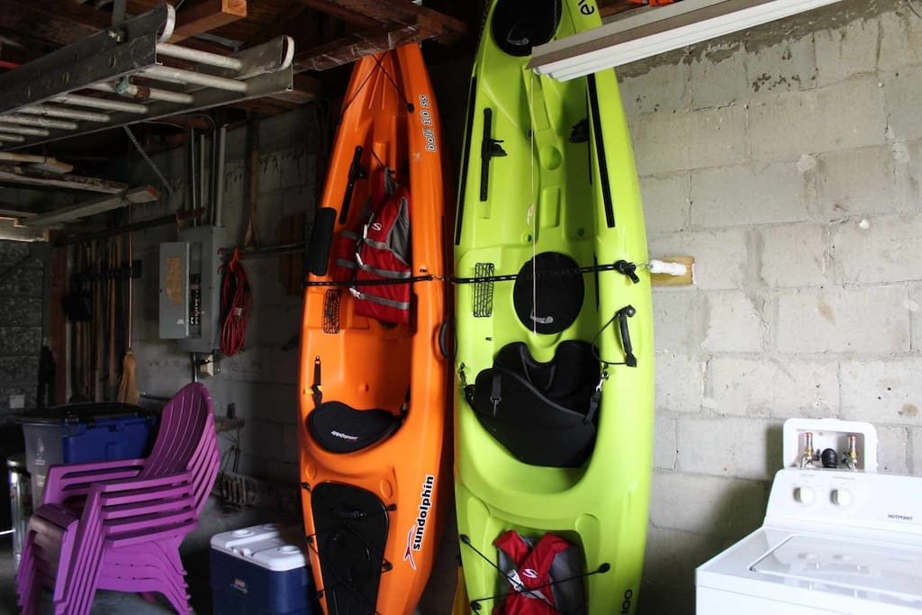 Explore the waterways in the New large kayaks, life jackets and cooler to use for guests