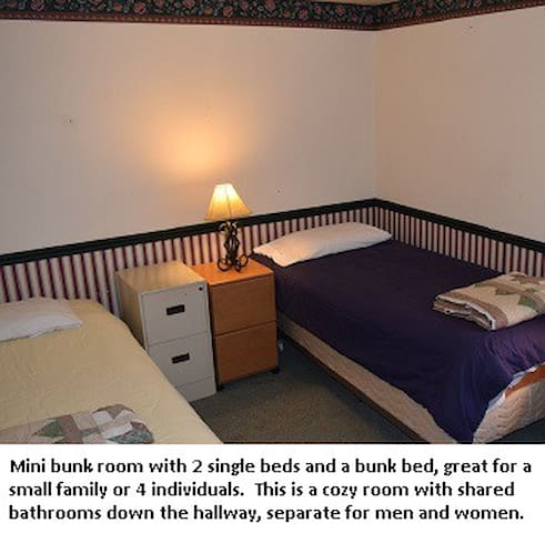 Bring your sleeping bag & SAVE.  4 Single beds!