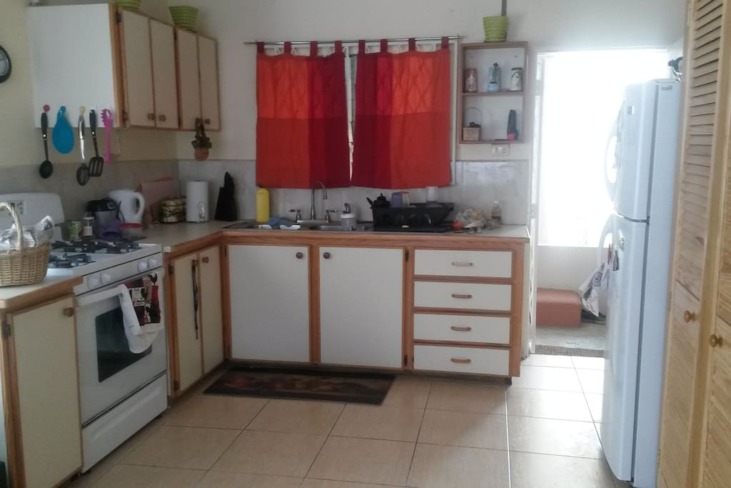 Clean and spacious kitchen with all amenities,  large pantry next to the refrigerator