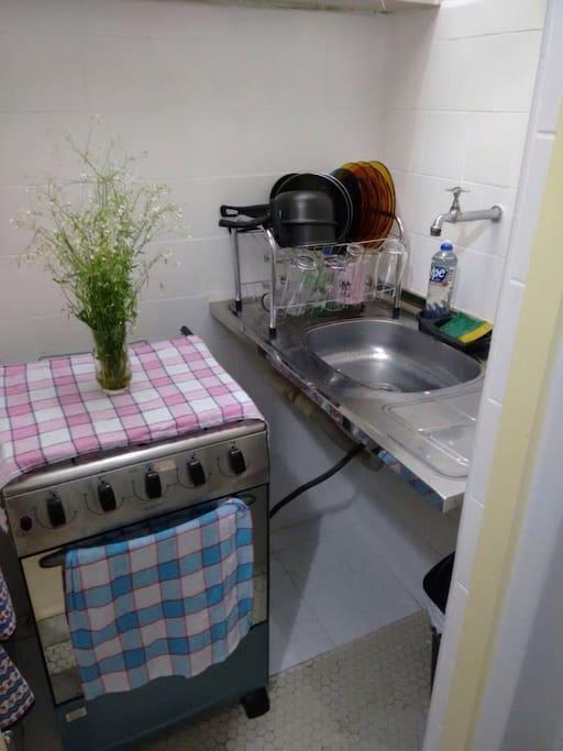 Mini cozinha, porém bem equipada