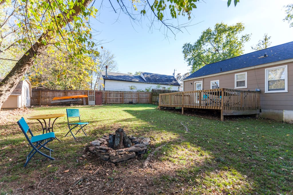 Gather around a fire in the spacious backyard!