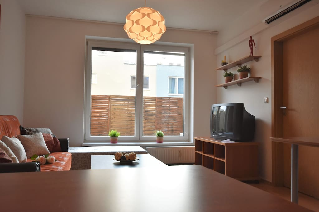 Spacious and sunny room with air conditioning.