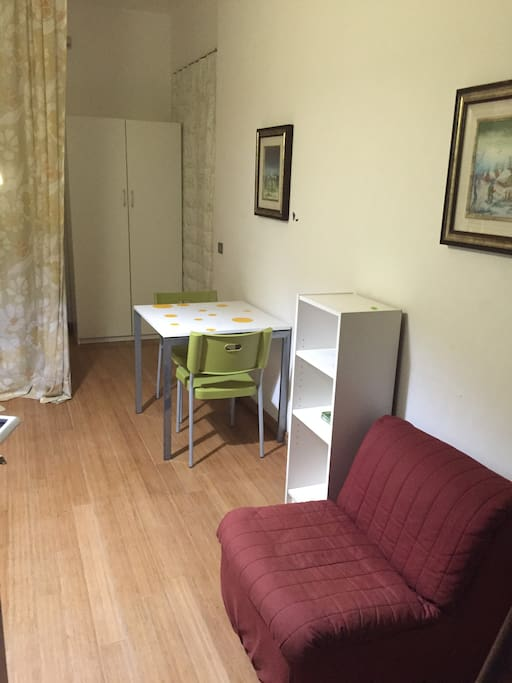 Table, chairs, wardrobe and armchair