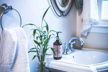cozy yet sunny private bathroom
