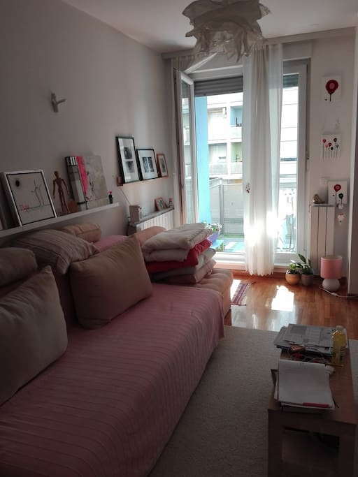 Living romm with sofa (pull out bed) and little balcony