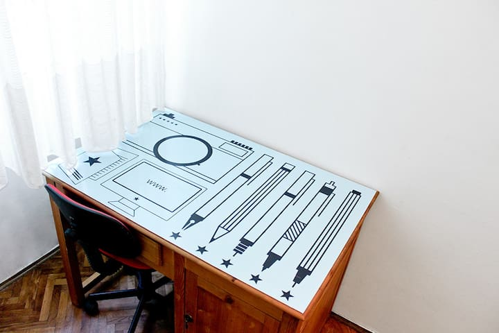 If you need some work done or just feel like doodling there is a desk in the bedroom