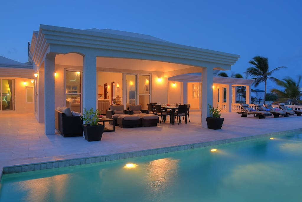 Outdoor living space and pool