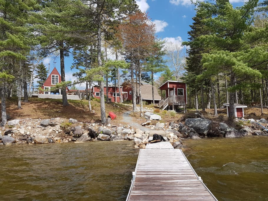 Dock and steps into the crystal clear waters of Nova Scotia's deepest lake.