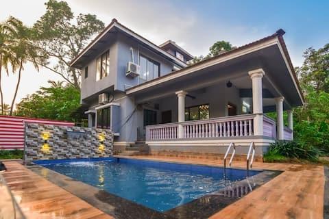 EKOSTAY | 3BHK BeachFront Sea Villa with Pvt Pool