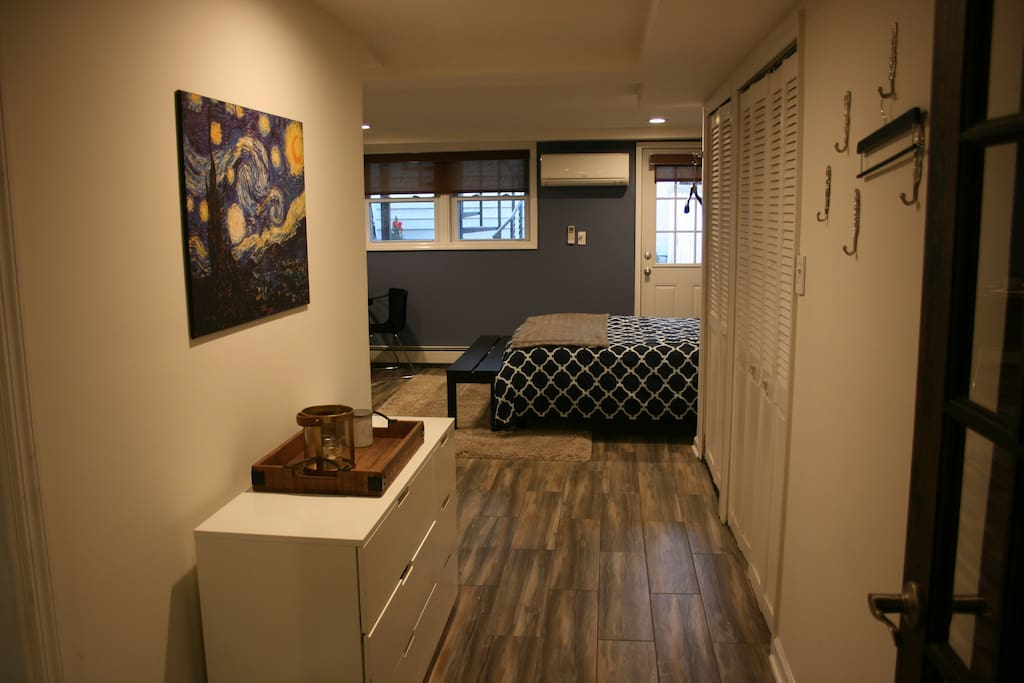 Here's the space from the entrance way. Comfy, cozy and beautifully decorated.