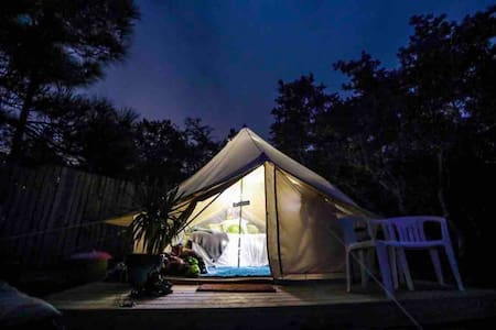 """la Cabana"" Yurt-Glamping AC & Pool BEACH OPEN!"