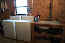 Washer, dryer, and sink so you can feel fresh and clean while on your vacation!