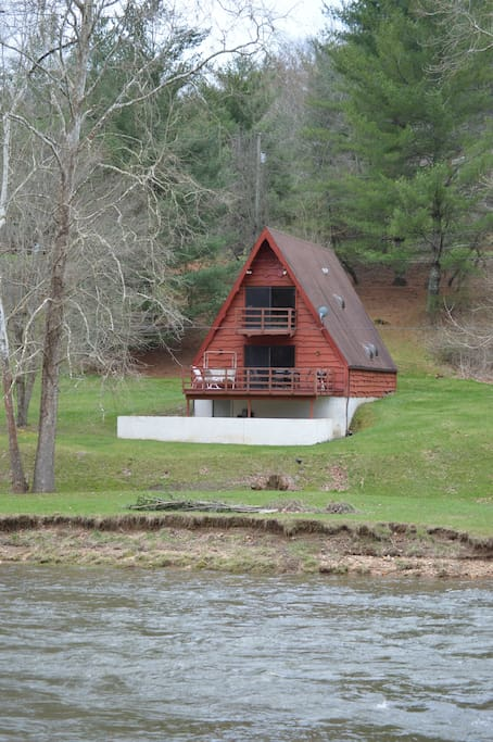 The cabin and river