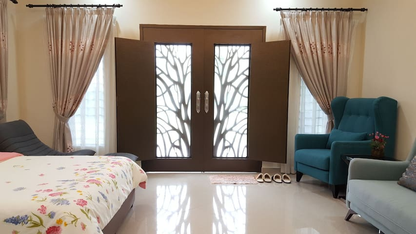 Option - open the double doors to get more sunlight (complete with mosquito net)