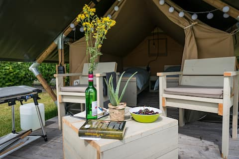 Privé sanitair: Charmante 2 persoons safari tent