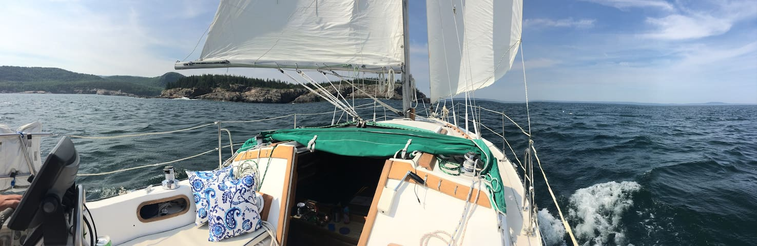 This 30ft yacht has a large cabin and bathroom (head).  Great for a 2hr sail, day trips; a cruise to Bar Harbor, fish, swim in our favorite cove tucked in the sound of MDI - whatever you wish to do Captain Ben will take you there!
