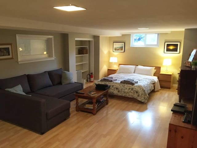 Large and airy self contained basement apartment