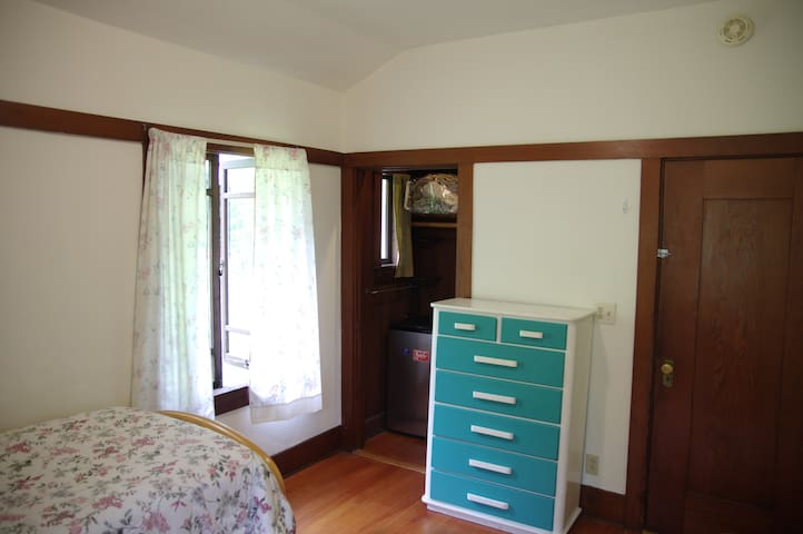 A mini-refrigerator and 2 directors chairs are in the Large walk-in closet.