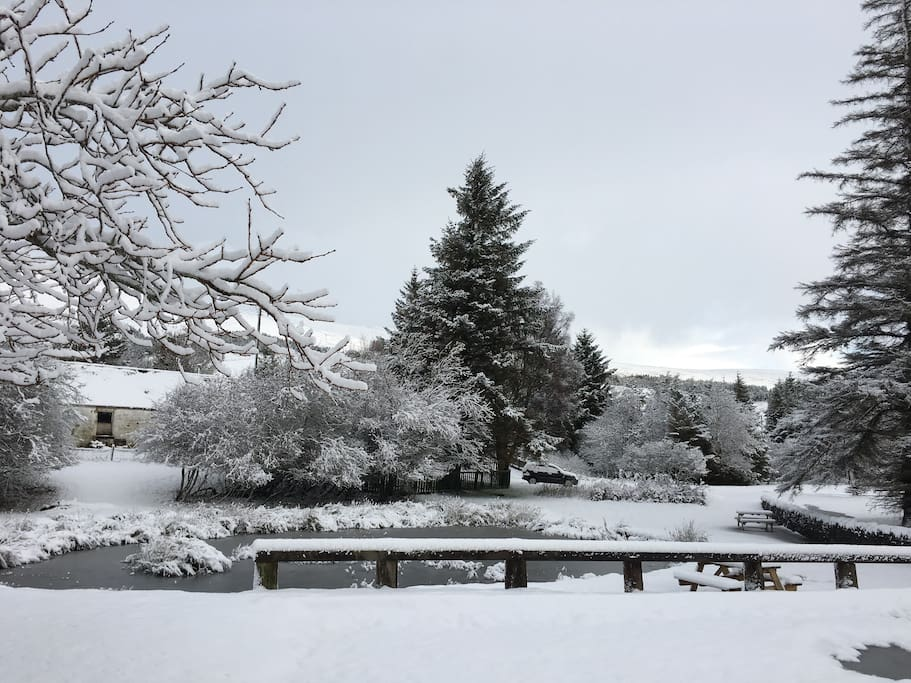 Achnasheen village pond - view from front of Gillies