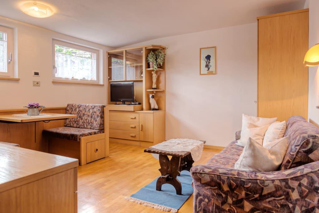Wohnraum mit Schlafcouch und mögliches Einzel Bett