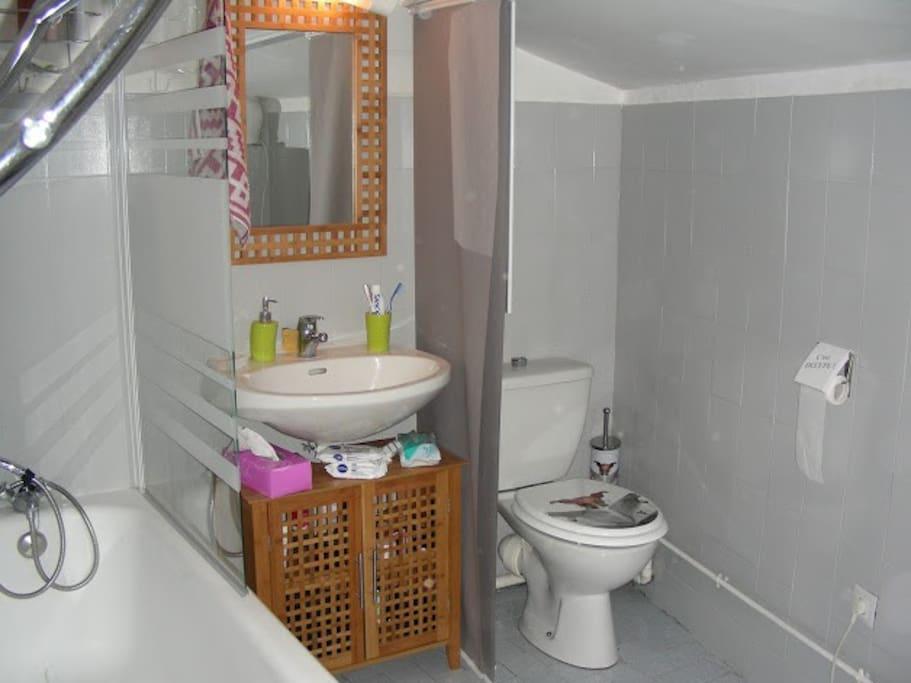 Joli salle de bain avec baignoire et wc