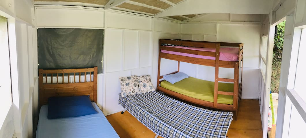 Interior with Single bed (left), bunk bed (right) and optional camp-bed (center)