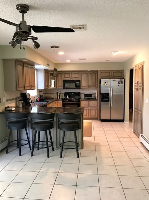 Large kitchen with breakfast bar.